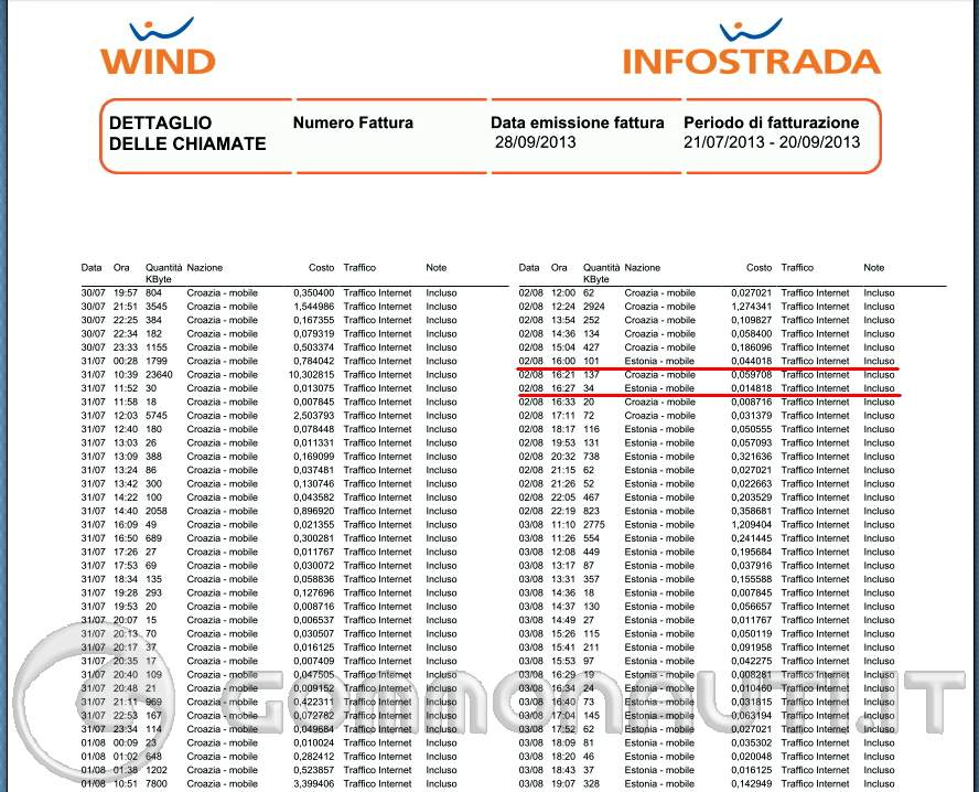tabulato telefonico wind