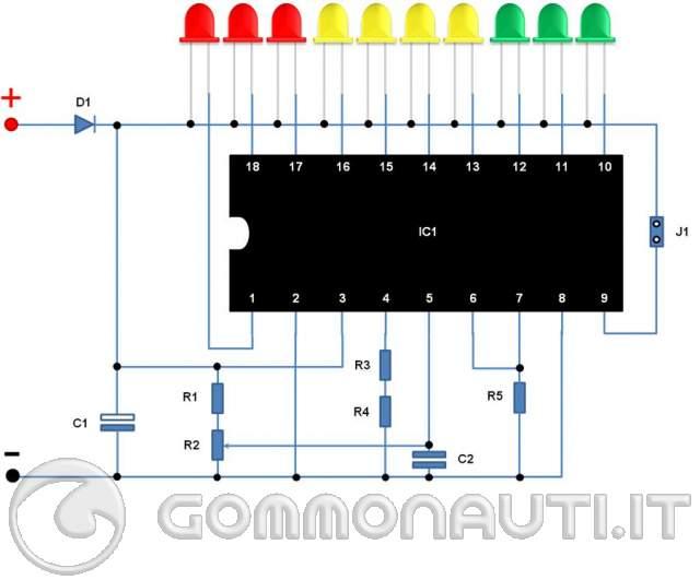 Schema Elettrico Voltmetro Per Auto : Monitor dello stato di carica delle batterie