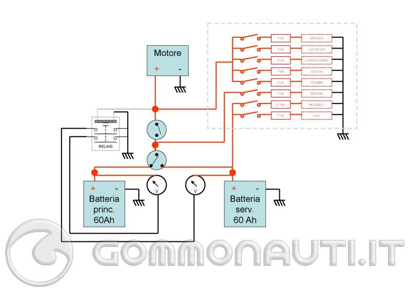 Schema Elettrico Lampadario Doppia Accensione : Consiglio impianto elettrico con due batterie