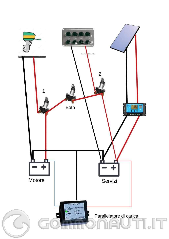 Schema collegamento batterie e varie