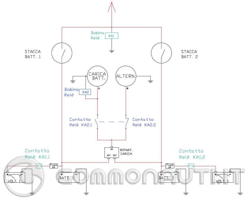 Schema Elettrico Ripartitore Di Carica : Batterie ripartitore voltmetri relè funzionerà