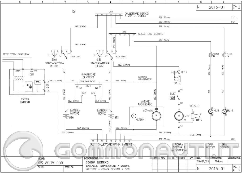Schema Elettrico Per Gommone : Impianto elettrico barca con doppia batteria protezioni