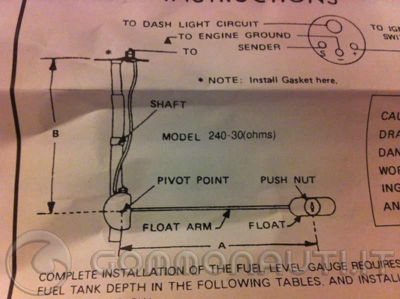 Schema Elettrico Galleggiante Serbatoio Acqua : Montaggio indicatore e galleggiante universale