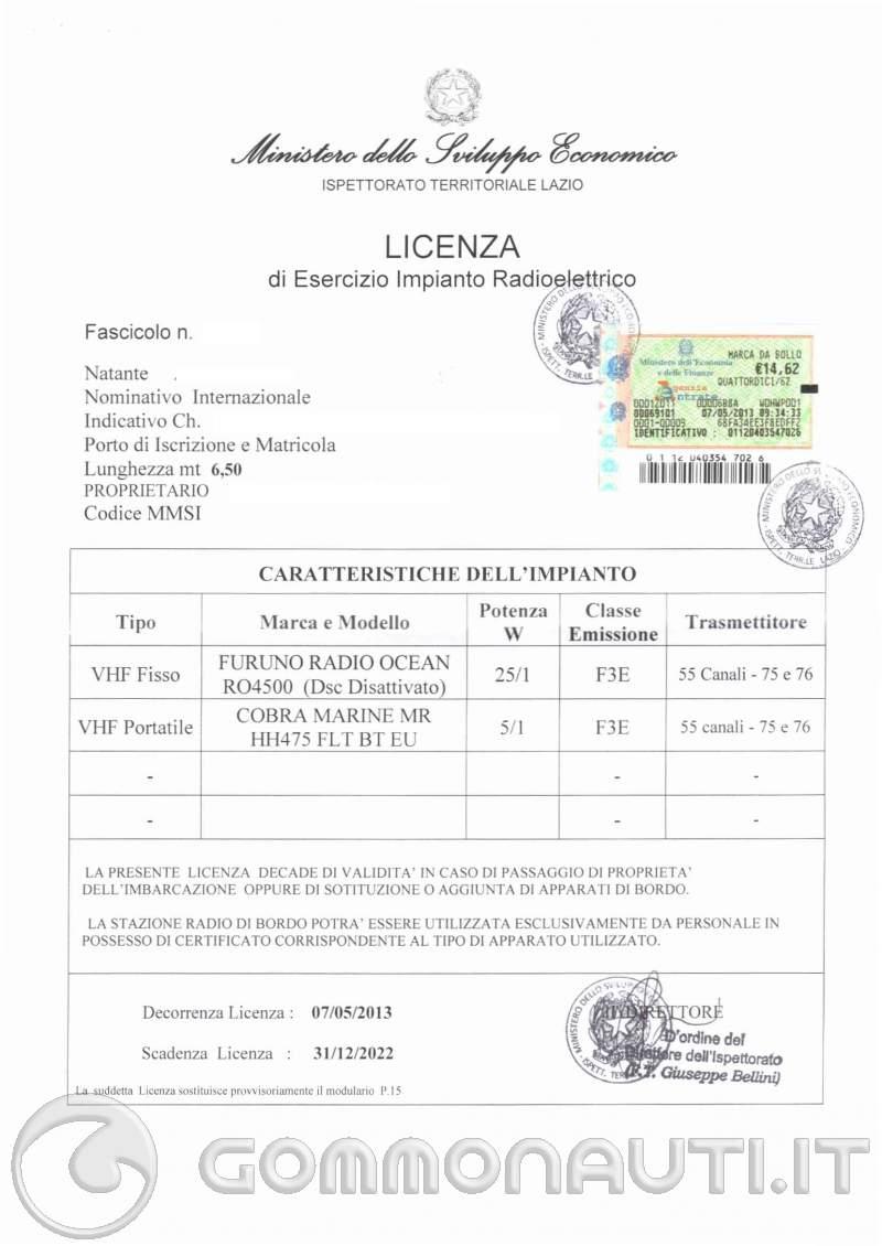 Re: VHF licenza d'uso scade dopo 10 anni