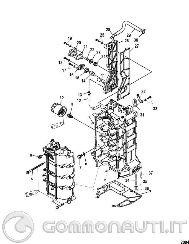 zincherei interni motore mercury 115efi