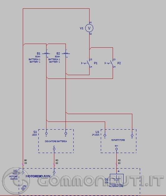 Schema Elettrico Batteria Notebook : Schema elettrico doppia batteria e ripartitore di carica